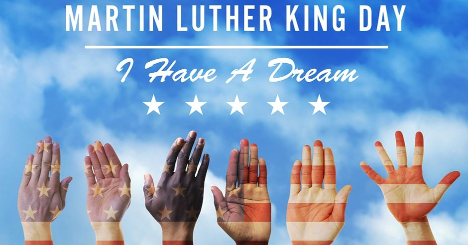 MLK Day poster of diverse hands