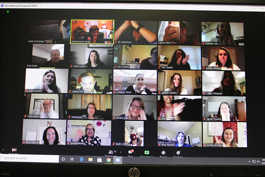 Staff and teachers reacted to the surprise announcement during a Zoom meeting.